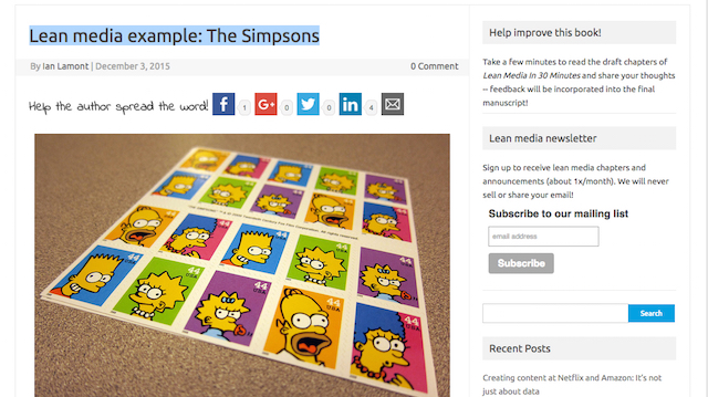 Simpsons blog post example from Lean Media In 30 Minutes