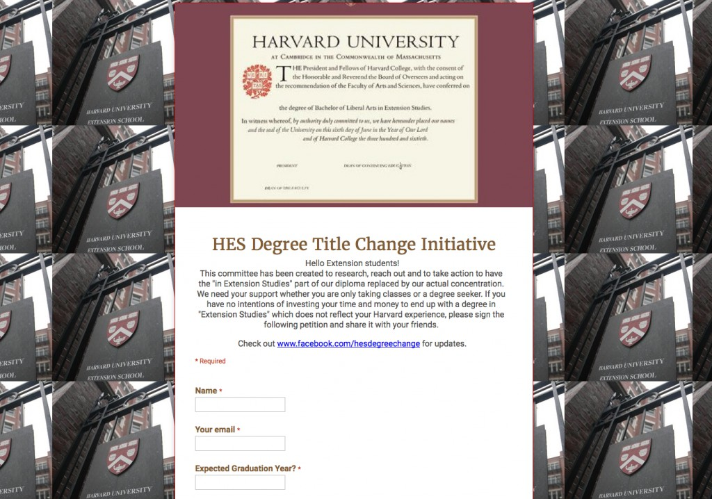 harvard extension school petition to change in extension studies