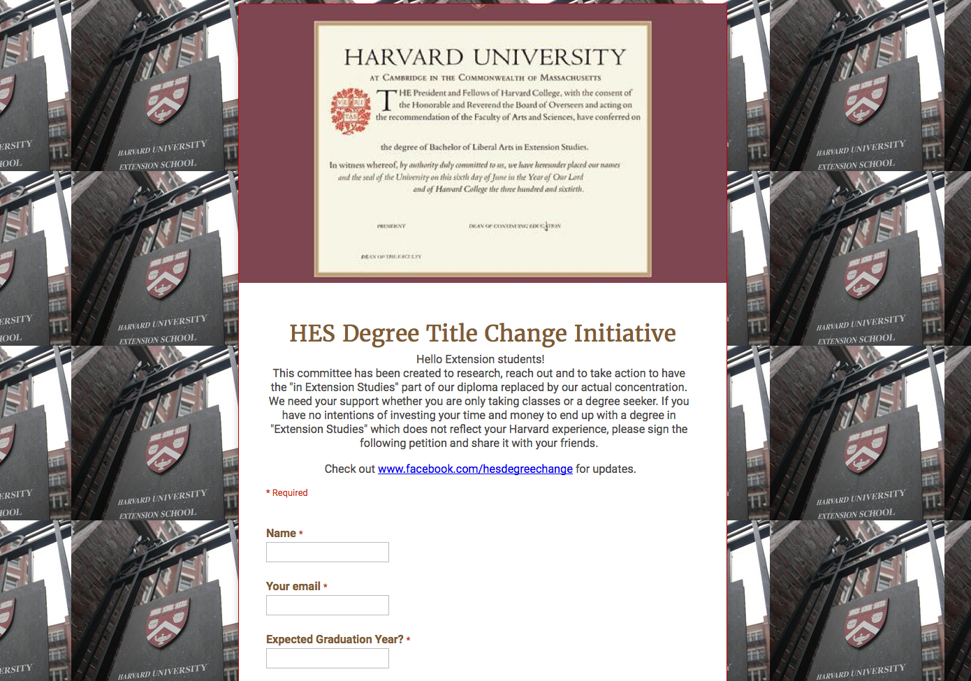 Harvard Extension School Petition To Change In Studies