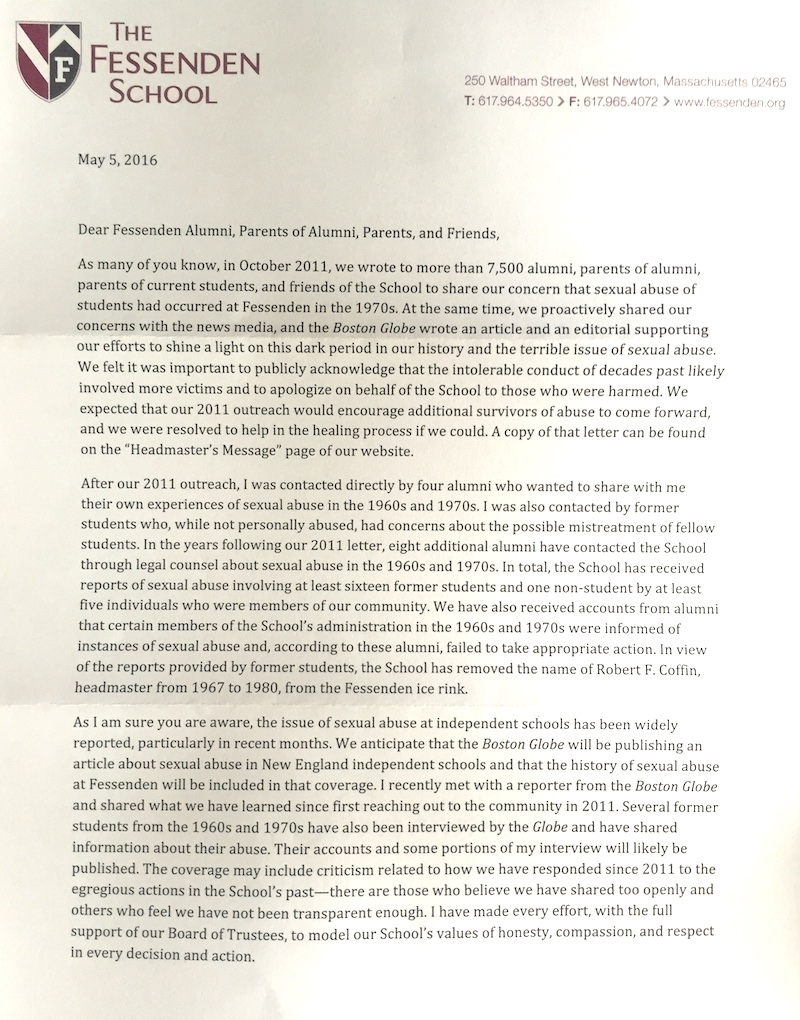 Fessenden letter from headmaster David Stettler, p1