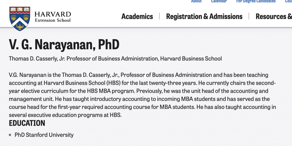 V.G. Narayanan is the Thomas D. Casserly, Jr., Professor of Business Administration and has been teaching accounting at Harvard Business School