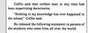 Headmaster Coffin's statements to the Boston Globe in 1977