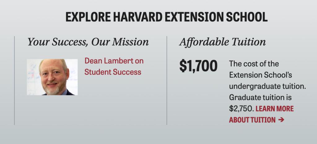 Harvard Extension affordable tuition