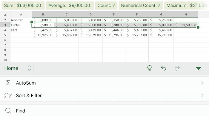 Excel iOS autosum example