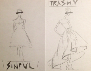 Design sketches, based on sketches by Oscar de la Renta