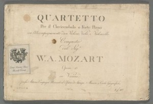 Wolfgang Amadeus Mozart. Title Page, first ed. K. 493, Merritt Room Mus 745.1.304.12 BMEO