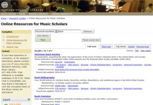 Screenshot, Online Resources for Music Scholars