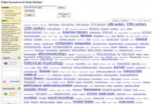 Screenshot, Tag Cloud, Online Resources for Music Scholars