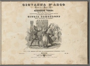 Giuseppe Verdi. Title page, Giovanna d'Arco. Mus 857.1.540.5