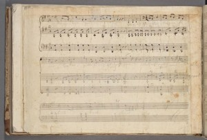 Song, notated on verso of final page, Sonata, K. 454 [mss]. Merritt Room Mus 745.1.13
