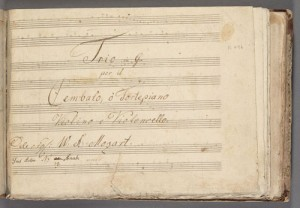 Title page, Piano trio K. 496 [mss]. Merritt Room Mus 745.1.13