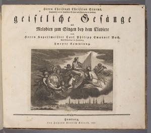 Carl Philipp Emanuel Bach. Title page, Zweyte Sammlung, Geistliche Gesänge. Merritt Room Mus 627.2.582.3
