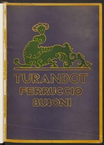 Ferruccio Busoni. Original cover, Turandot. Mus 633.5.605