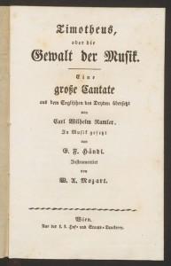 Title page, Timotheus, oder, die Gewalt der Musik. Merritt Room ML54.H36 A4 1791