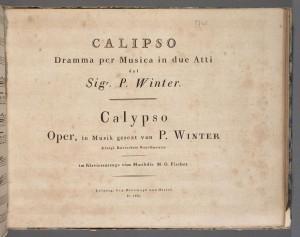 Peter von Winter, Title page, Grotta di Calipso. Merritt Room Mus 637.1.618.5