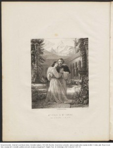 Frontispiece depicting Mme Stoltz (Léonor) and Mr. Duprez (Fernand) in the 4th act of La Favorite. Mus 647.1.671.7 B