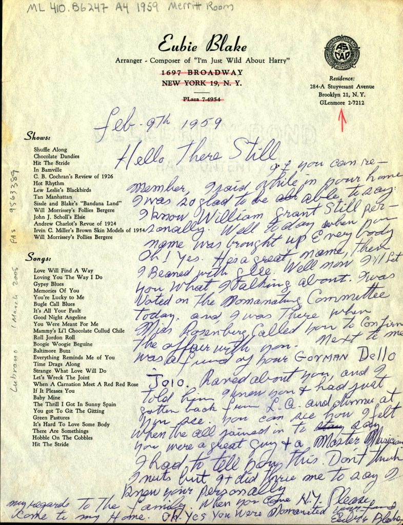 Letter from Eubie Blake to William Grant Still, written 9 February 1959, Brooklyn, New York.