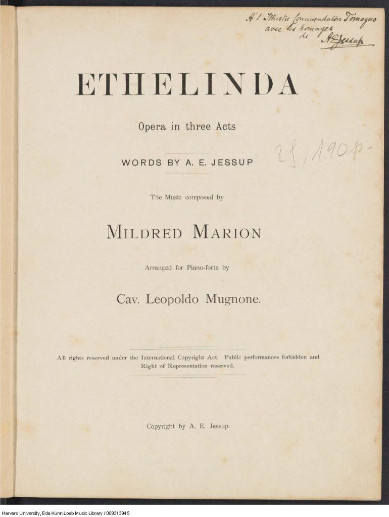 Ethelinda title page inscribed by librettist.