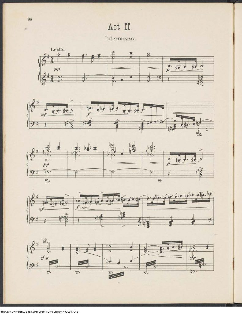 The beginning of Act II, an intermezzo in G major.