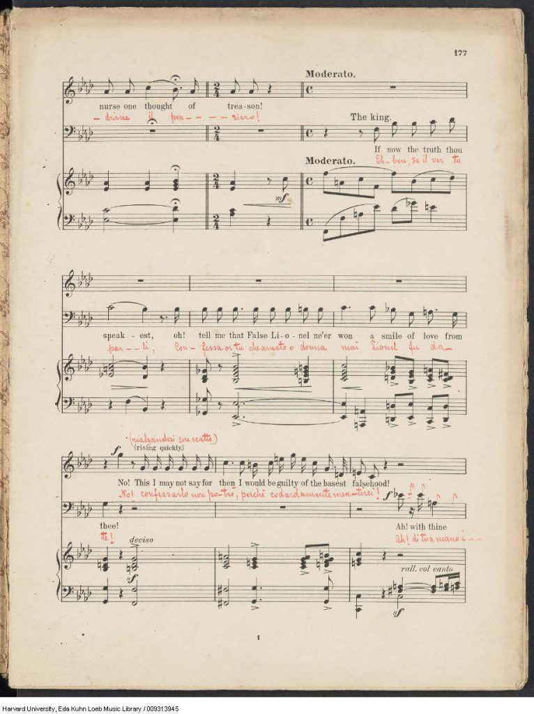 An alternate finale is laid in, annotated in red ink with the original Italian libretto.