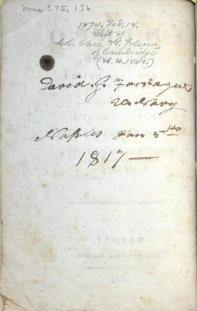 The libretto features the signature of the former owner.