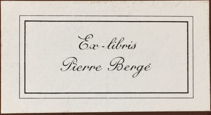 The bookplate of industrialist and collector Pierre Bergé.