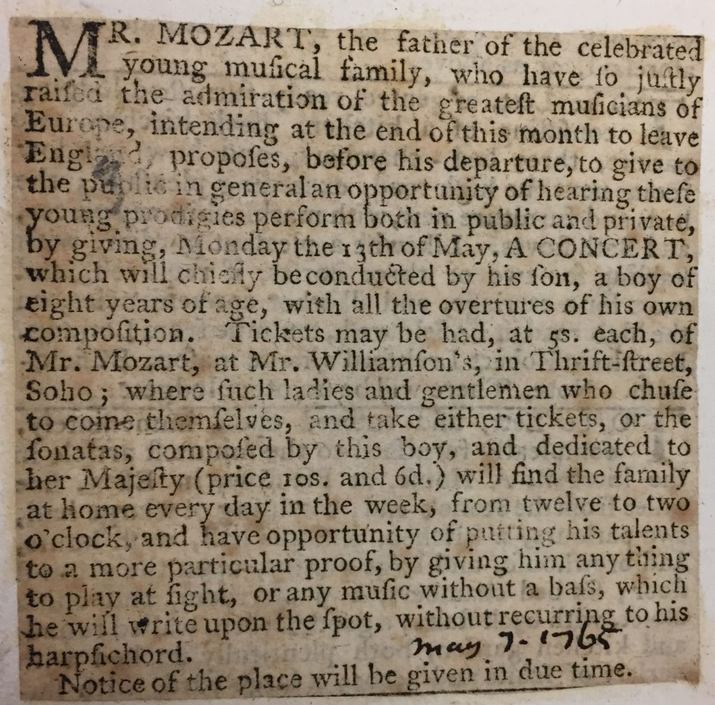 A newspaper clipping tells of a concert and an open house by eight-year-old Mozart.