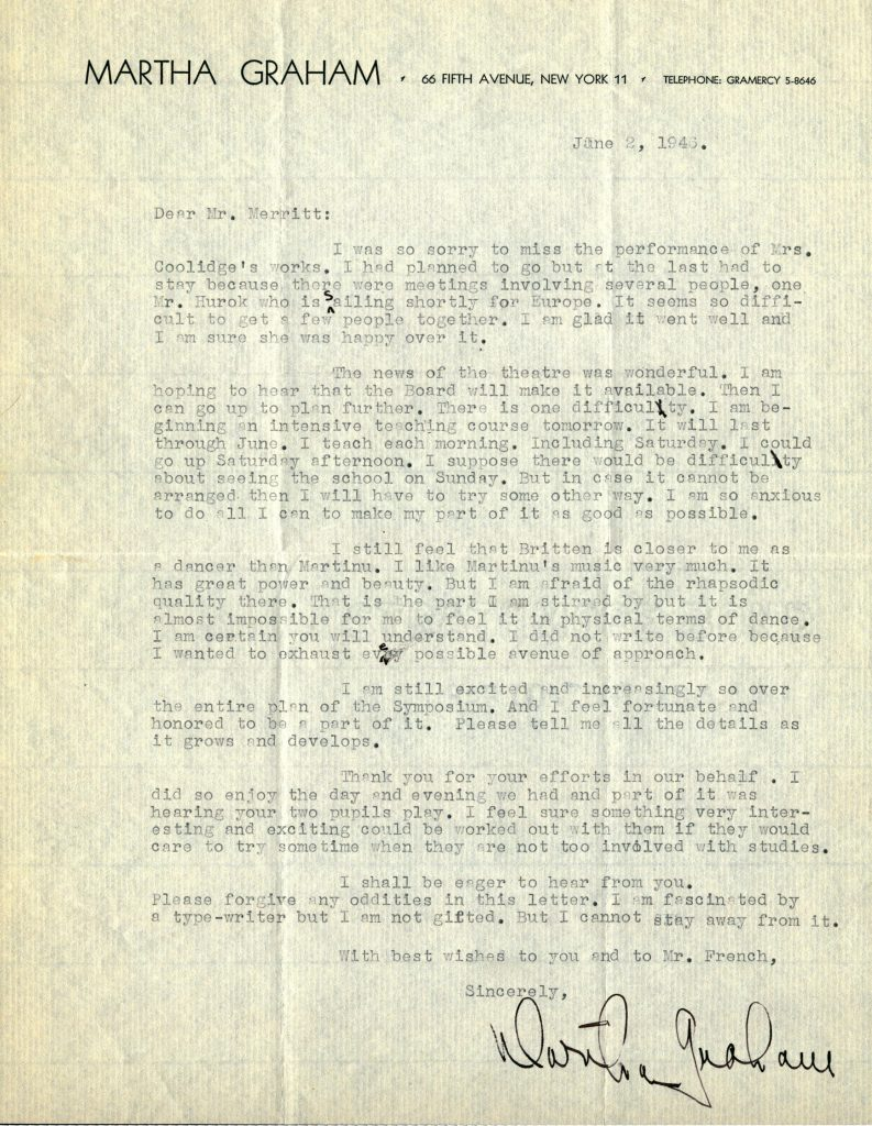 A letter from the American dancer Martha Graham, dated June 2nd, 1946. Ms. Graham is accepting an invitation to perform at the Harvard symposium on Music and Criticism the following spring.