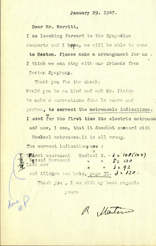 A letter from the composer Bohuslav Martinů, expressing concerns with an edition of the score of his sixth string quartet. Date January 29, 1947 and signed B. Martinů.