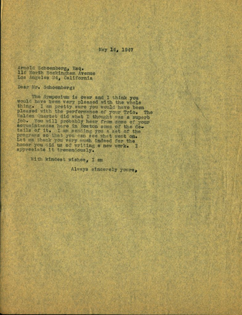 A letter to the composer Arnold Schoenberg. Unsigned carbon copy from an organizer of the conference.