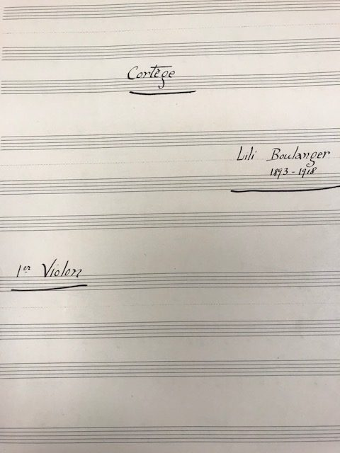 Example of handwriting, 1st violin part.
