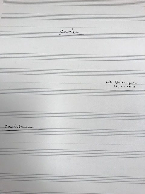 Example of handwriting, contrabass part.