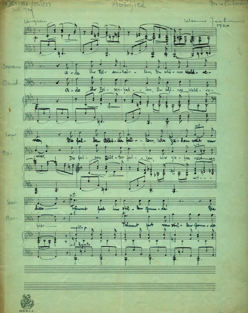 Manuscript score of a song entitled Abschied. Signed Werner Josten, 1920.