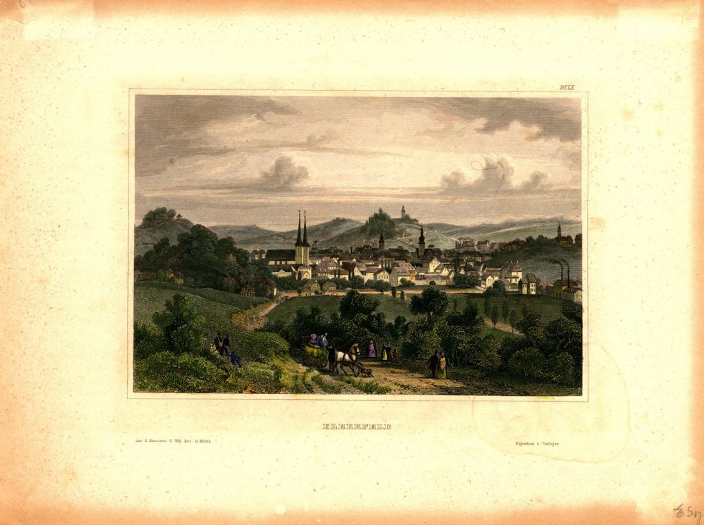 A print depicting the German town of Elberfeld, as seen from afar.