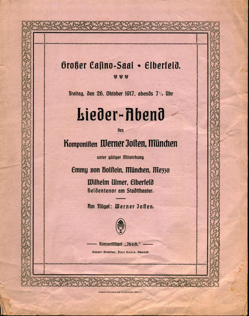 Concert program from a 1917 performance of Werner Josten's music in his hometown, Elberfeld