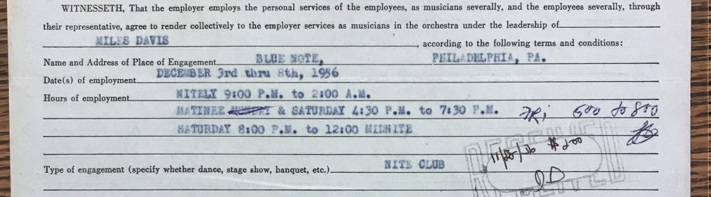 Miles Davis contract for December 3 through 8, 1956.
