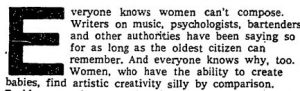 Newspaper clipping stating women can't compose.