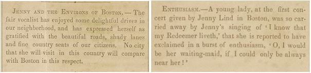 Jenny Lind Promotional Newspaper clipping