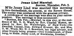 newspaper clipping from New York Times announcing Lind's marriage