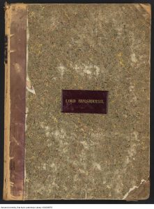 The front cover of a volume of music. Gilt letters on a red morocco label say Lord Burghersh.