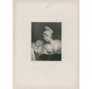 Lady Augusta Kennedy-Erskine is depicted leaning towards a sleeping child. She is wearing a bonnet and a dark dress with a white collar.