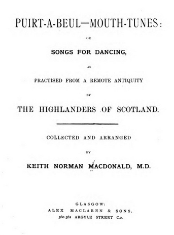 title page from songbook with title and author