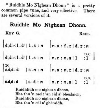 notation and lyrics to Ruidhle Mo Nighean Dhonn