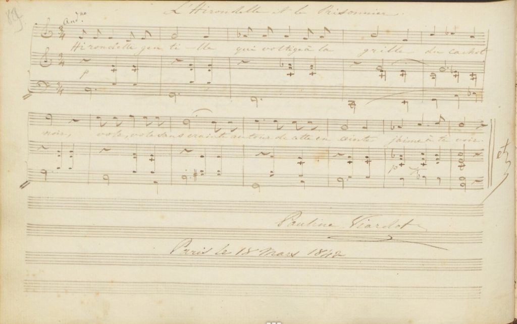 A page from an autograph album manuscript with two lines of music for voide and piano and the signature of Pauline Viardot.