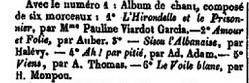 Newspaper clipping from Bureaux de La France musicale stating the publication of L'Hirondelle et le prisonnier by Pauline Viardot Garcia.