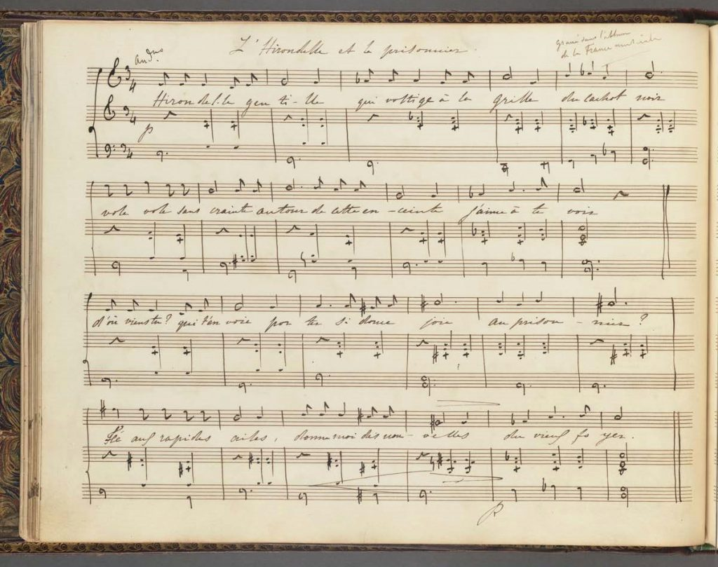 Oblong music manuscript, the first page from Collection of Songs for voice and piano.