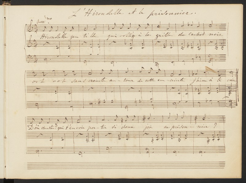 Oblong manuscript of song for voice and piano from notebook. One stave of the music has been slightly extended in order to finish a phrase on the same line.