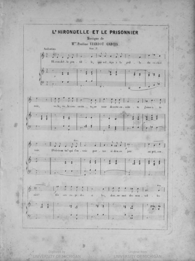 First page of L'Hirondelle et le prisonnier