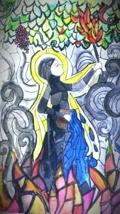 Watercolor painting of Rabia Basri