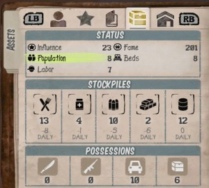 State of Decay resources screen